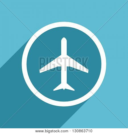 plane icon, flat design blue icon, web and mobile app design illustration