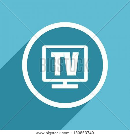 tv icon, flat design blue icon, web and mobile app design illustration