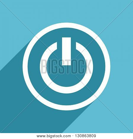 power icon, flat design blue icon, web and mobile app design illustration