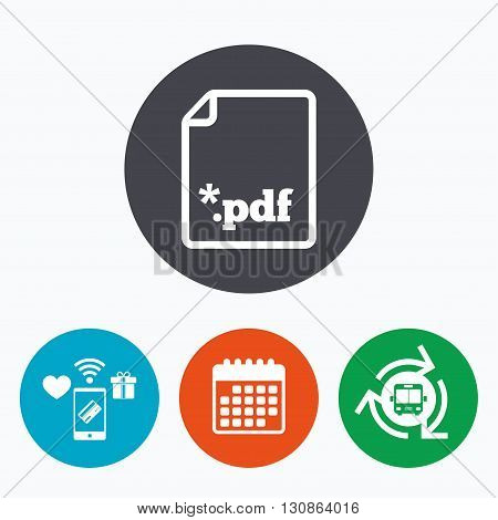 PDF file document icon. Download pdf button. PDF file extension symbol. Mobile payments, calendar and wifi icons. Bus shuttle.