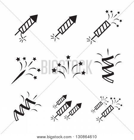 Firework icon set with petard and stars eps10