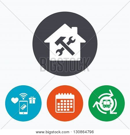 Service house. Repair tool sign icon. Service symbol. Hammer with wrench. Mobile payments, calendar and wifi icons. Bus shuttle.