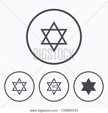 Star of David sign icons. Symbol of Israel. Icons in circles.