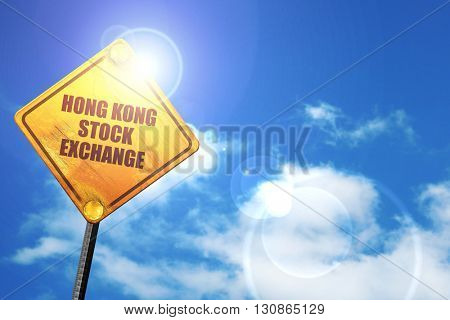 hong kong stock exchange, 3D rendering, a yellow road sign