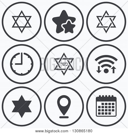 Clock, wifi and stars icons. Star of David sign icons. Symbol of Israel. Calendar symbol.