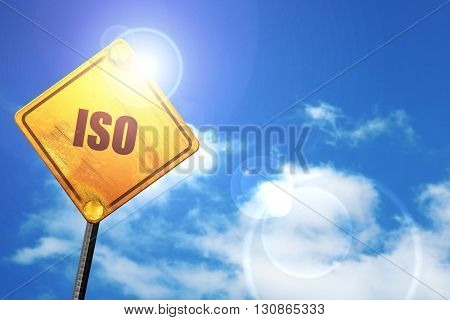 iso, 3D rendering, a yellow road sign