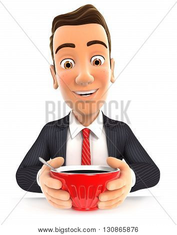 3d businessman drinking a cup of coffee , illustration with isolated white background