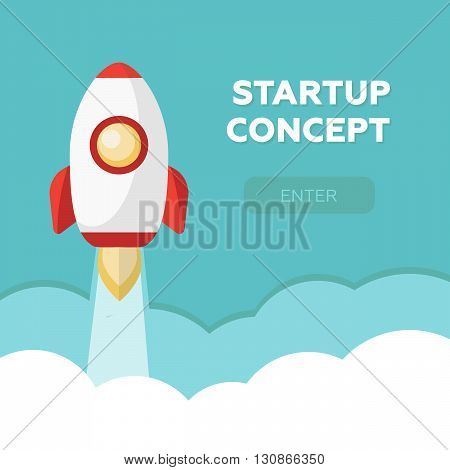 Space rocket launch. Start up concept flat style. Vector illustration eps10