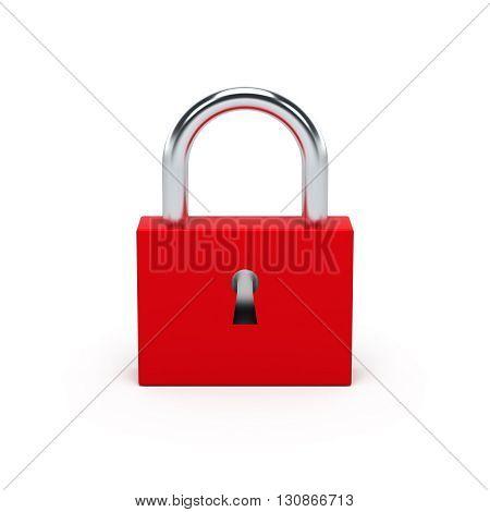 Red Lock. 3D Illustration.