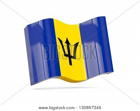 Wave Icon With Flag Of Barbados