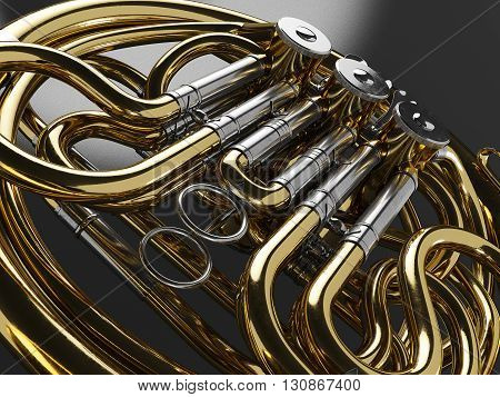 Aged french horn.  high quality 3d render