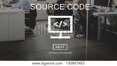 Source Code Binary Computer Data Internet Concept