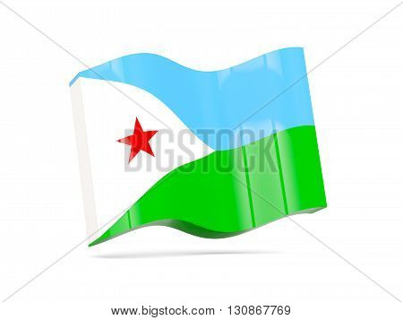 Wave Icon With Flag Of Djibouti