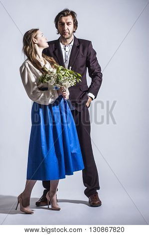 photo of young family couple on white background.