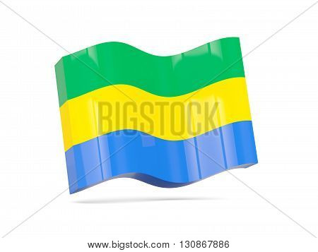 Wave Icon With Flag Of Gabon
