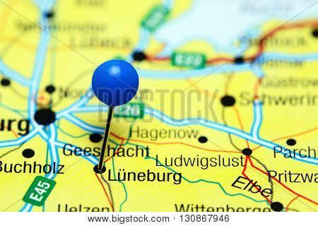 Luneburg pinned on a map of Germany