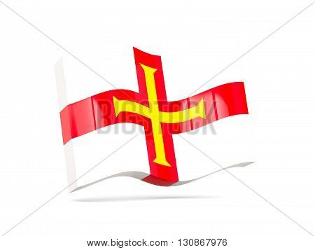 Wave Icon With Flag Of Guernsey