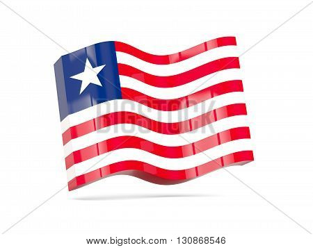 Wave Icon With Flag Of Liberia