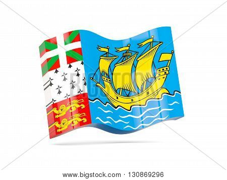 Wave Icon With Flag Of Saint Pierre And Miquelon
