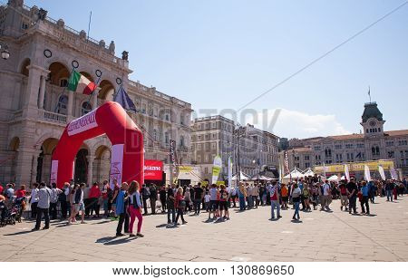 TRIESTE ITALY - MAY 08: Finishing line of Bavisela the half marathon in Trieste on May 08 2016