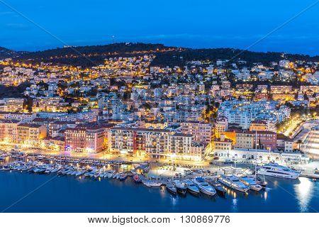 France Nice Cote d'Azur with mediterranean beach sea at dusk
