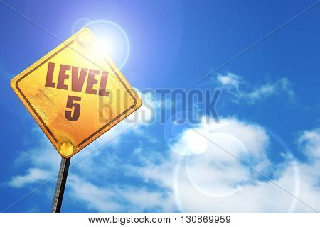 level 5, 3D rendering, a yellow road sign