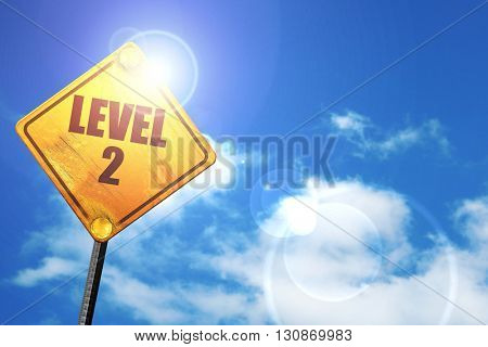 level 2, 3D rendering, a yellow road sign