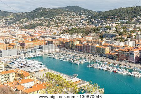 France Nice Cote d'Azur with mediterranean beach sea