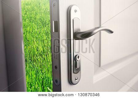 Open white door to green field