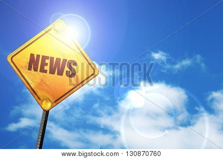 news, 3D rendering, a yellow road sign