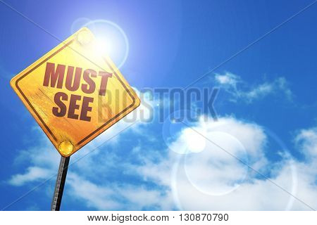 must see, 3D rendering, a yellow road sign