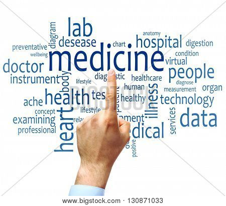 Doctor hand pointing at word cloud. Medical concept