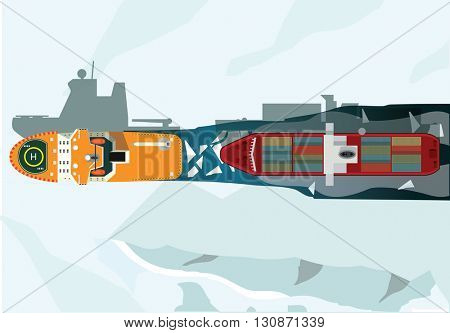 Icebreaker paves the way for other ship. Vector illustration.