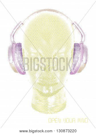 Concept music. An abstract vector for man relaxing and listening music with headphones. Realistic art design of object with contour varying the width and shape. Artistic outline design. Colorful