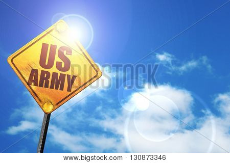 us army, 3D rendering, a yellow road sign