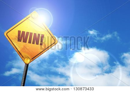 win!, 3D rendering, a yellow road sign
