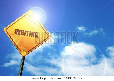 writing, 3D rendering, a yellow road sign