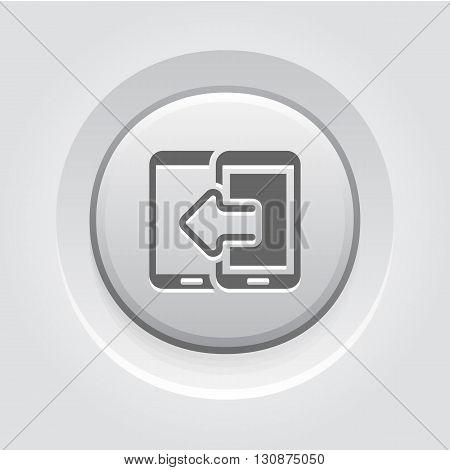 Data Transfer Icon. Mobile Devices and Services Concept Grey Button Design