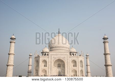 Imperial architecture of Taj Mahal in Agra, Delhi. Taj Mahal was built by Shah Jahan in memory of Mumtaz Mahal and showcases classic Mughal and Persian architecture.