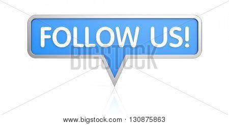 Follow us icon - social network button. 3d illustration