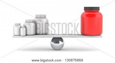 Compare supplements or drugs. 3d illustration