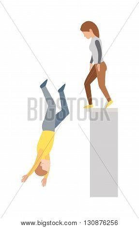 High jump and hard landing jumping down. Jumping down vector concept and jumping down off cliff. Jumping down upside down, woman suicide, dying man jumping down. Building street urban dangerous.