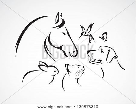 Vector group of pets - Horse dog cat bird butterfly rabbit isolated on white background