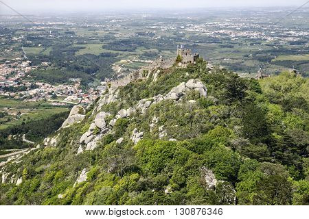This ancient hill fortress in Portugal ws first built in the 9th century and has been reconstructed several times to provide protection for the town of Sintra below.