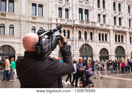 TRIESTE ITALY - MAY 14: Cameraman make a movie in the street on May 14 2016