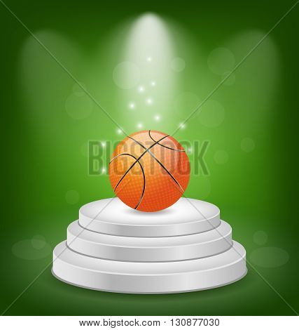 Illustration Basket Ball on White Podium with Light - Vector