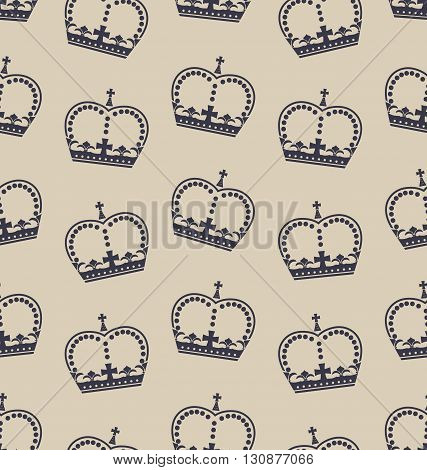 Illustration Seamless Wallpaper Representing the Crown of the British Royal Family. Retro Background - Vector