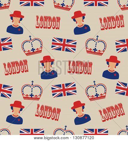Illustration Retro Seamless Texture of Silhouettes Symbols of Great Britain - Vector