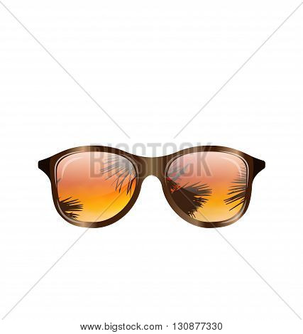 Illustration Sunglasses with Palms Reflection, Isolated on White Background - Vector
