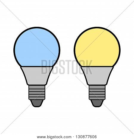 Led bulbs. Flat color icon light bulb. Energy saving lamp. Warm and cold light